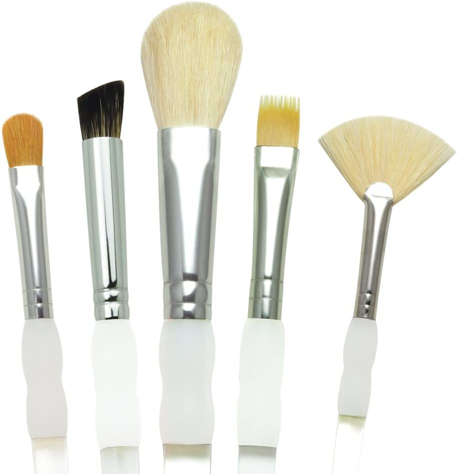 Royal Brush Soft Grip Textured Golden Taklon Fiber Paint Brush Set, Assorted Size, Set of 5,Silver