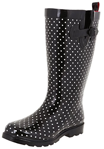 Capelli New York Dames Brillant Rainboot Noir Point Blanc