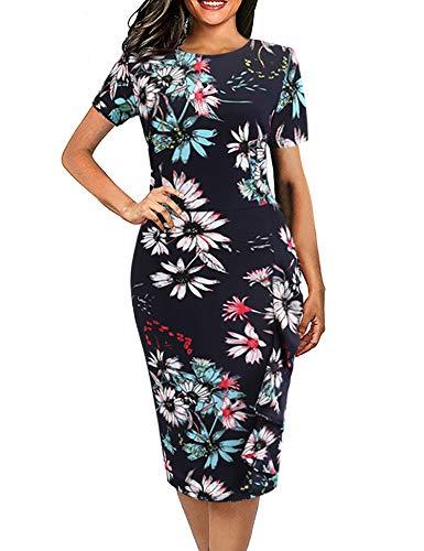 Women's Vintage Short Sleeve Ruffles Retro Office Business Bodycon Pencil Dress Floral Print Navy Blue Size XL