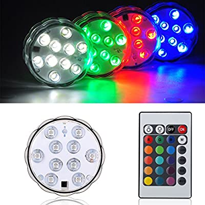Kitosun Submersible LED Lights 3aaa Battery RGB Multicolors Waterproof LED Light Base with Remote for Wedding Party Events Centerpieces Vases Floral Pond Fish Tank Pool Decoration Punk Accent Lighting