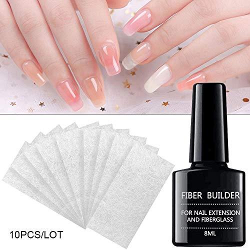 Feileng Manicure Gel Set,10PCS Non-Woven Silks Nail Art Fiberglass Silk Wrap 8ml Nail Extension Glue Nail Extension Repair Fiber Fiberglass Gel DIY Manicure Accessory Improvement