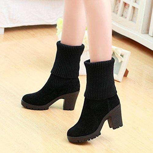 Grey HCFKJ Boots Boots Casual Winter High Square Black Combat Women Boots Knitting Shoes Black Heel Wram Ladies ZZSRqrwx