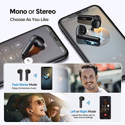 Wireless Earbuds, Mpow MX1 Bluetooth Headphones w/Wireless Charging Case/USB-C Charge, 4 Mics Noise Reduction in Ear Headset, 35H Playtime/Hi-Fi Stereo/Touch Control, IPX8 Waterproof Sport Earphones