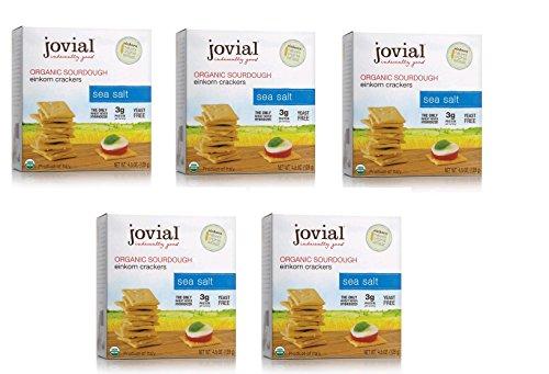 Jovial Sea Salt Sourdough Einkorn Crackers 4.5 Oz (5 Pack)