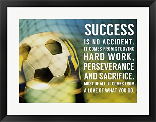 Success Soccer Quote by Sports Mania Framed Art Print Wall Picture, Black Frame, 28 x 22 inches by Great Art Now
