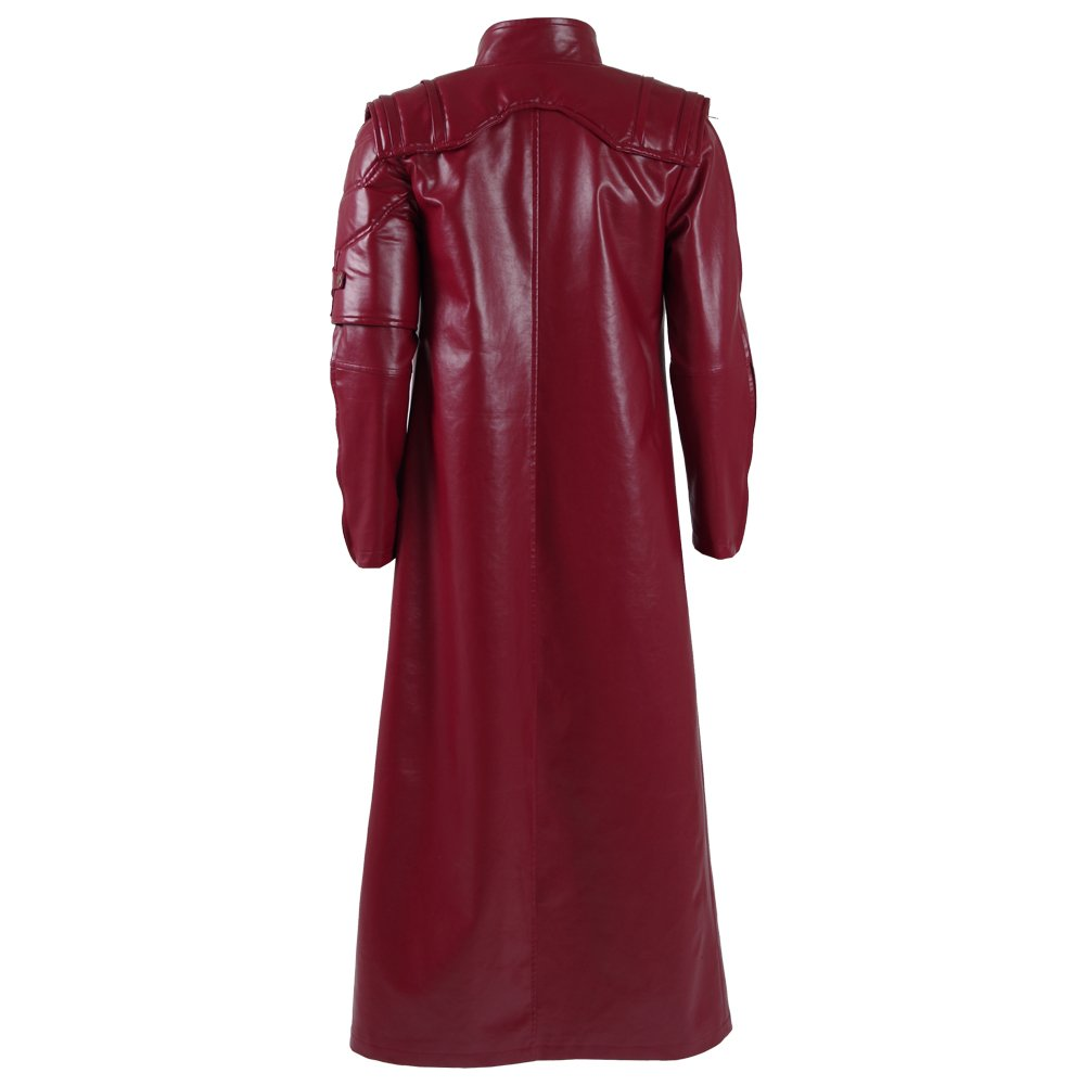 Men's Red PU Leather Trench Coat Cospaly Costume Halloween Outfit Uniform (US Men-L, Red) by FANER (Image #4)
