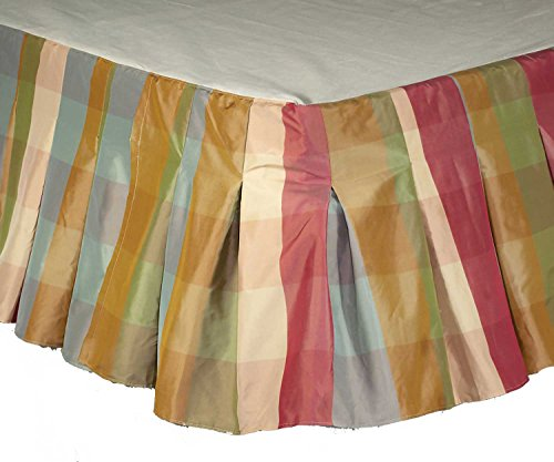 Ds Savanna Buffalo Checked Faux Silk Inverted Pleats Bed Skirt / Dust Ruffles 18