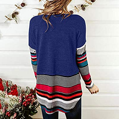 Sttech1 Womens Long Sleeve Striped Patchwork Pullover Sweatshirts Round Collar Loose Blouse Tunic Tops: Clothing