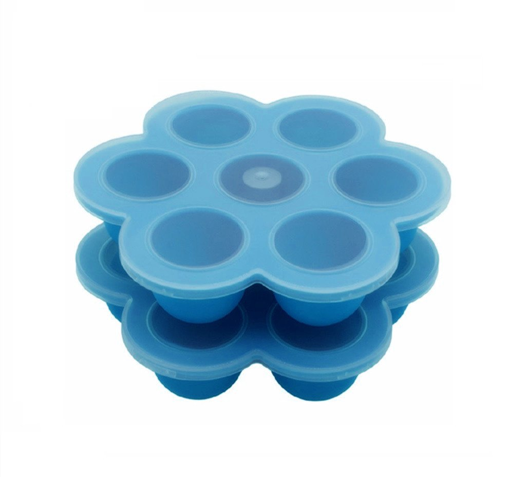 2Packs Silicone Baby Food Storage Freezer Trays with Silicone Clip-On Lid, Silicone Egg Bites Molds for Instant Pot Accessories, Fits Instant Pot 5,6,8 qt Pressure Cooker (Blue)