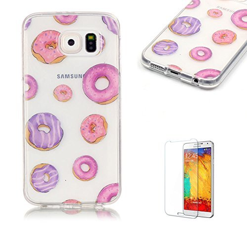 Galaxy S6 TPU Case with Free Screen Protector,Funyye See Through Transparent Soft Rubber Silicone Gel TPU Bumper Ultra Thin Colourful Print Design Pro…