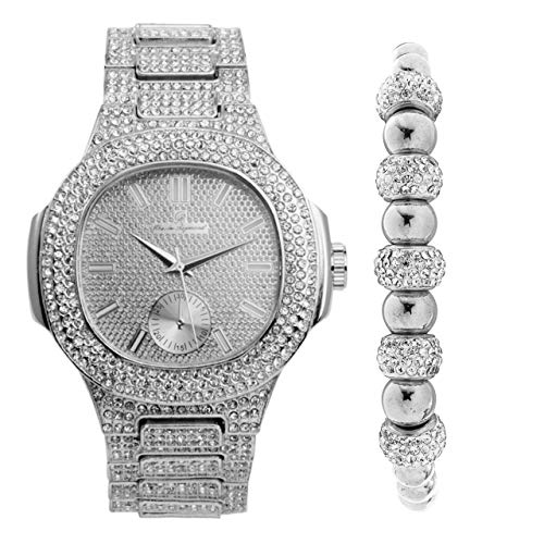 Bling-ed Out Oblong Case Metal Mens Silver Watch w/Matching Bling-ed Out Silver Shamballa Jewelry Bracelet Gift Set - 8475SSham