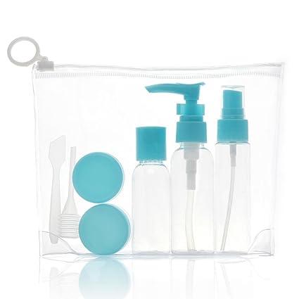 Fdit - Juego de Botellas de Viaje con Spray y dispensador de Loción, de plástico