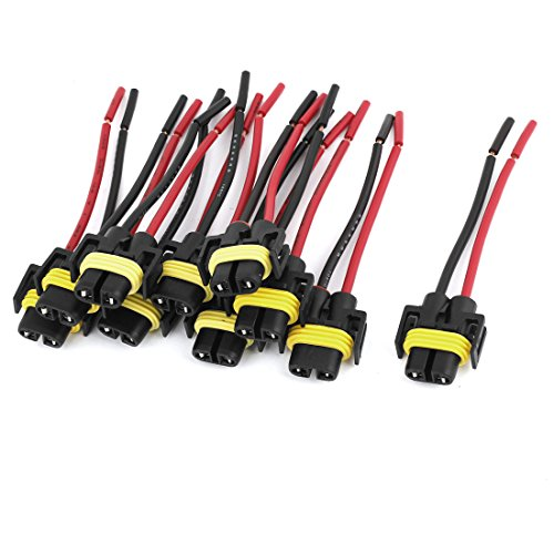 uxcell 10pcs DC 12V 2-Wires H1 Headlight Lamp Bulb Socket Wiring Harness Connector Plug Pigtail Adapter for Car
