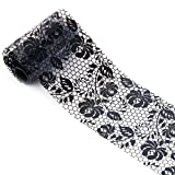 Nail Art Stickers Decals, WuyiMC 1 roll 4*100cm Lace Starry Sky Design Nail Art Foil Stickers Transfer Decal Tips Manicure Nail Art Supplies Black (# I)