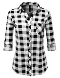 JJ Perfection Womens Long Sleeve Collared Button Down Plaid Flannel Shirt