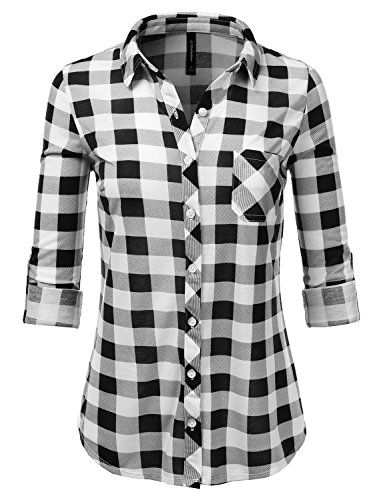 JJ Perfection Womens Long Sleeve Collared Button Down Plaid Flannel Shirt? Blackwhite 3X