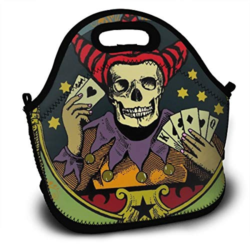 Dreamfy Women Men Boys Girls Kids Insulated Neoprene Lunch Bag Tote Handbag Lunchbox Food Container Gourmet Pouch with Zipper for School Work Office Picnic Gym Fortune Teller Skull Playing Poker