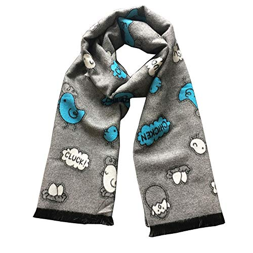 Canyixiu Kids Classic Cartoon Pattern Tassel Wild Warm Scarf,One Size Fits Most, for Toddlers, Little Kids, Big Kids (Color : Gray)