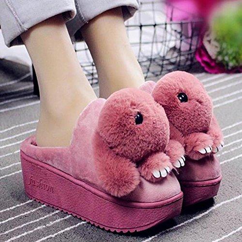 Inverno fankou pantofole di cotone cartoon femmina simpatico coniglio cotone trascina Home anti-slittamento spesso caldo cotone pantofole ,36-37, cocomero rosso