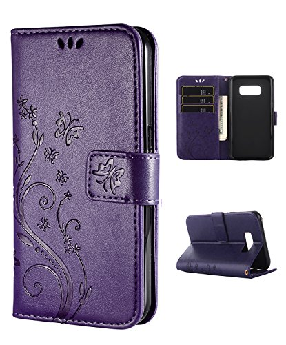 Samsung S8 Case,Galaxy S8 Wallet Case, FLYEE Flip Case Wallet Leather [kickstand] Emboss Butterfly Flower Folio Magnetic Protective Cover with Card Slots for Samsung Galaxy S8 Purple