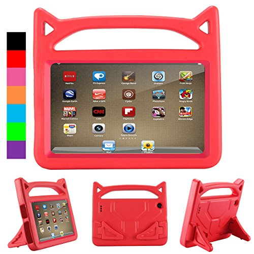 All-New F ir e HD 8 Kids Case, A m a z o n F ir e 8 Tablet Case 2018, Riaour (Compatible with 6th/7th and 8th Generation,2016/2017 and 2018 Releases)(Hot Red)