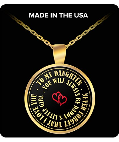 Daddy's Little Girl Necklace - Gold Plated Round Pendant for Girls - To My Daughter Father Gifts - The Perfect Daddy Love Gift