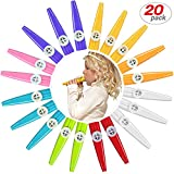 20 Pack Plastic Kazoos Musical Instruments with 20pcs Kazoo Flute Diaphragms Assorted Color Party Favors Gifts Kazoo Kid Random 8 Colors