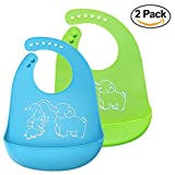 BeYself 2 Pack Waterproof Silicone Bibs - Easily Wipes Clean Silicone Feeding Bibs - Comfortable Soft Waterproof Toddlers Baby Bibs Keep Stains Off - Green & Blue