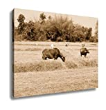 Ashley Canvas Thai Buffalo Walk Over The Field Go Back Home With Sunset Life, Wall Art Home Decor, Ready to Hang, Sepia, 16x20, AG6344413