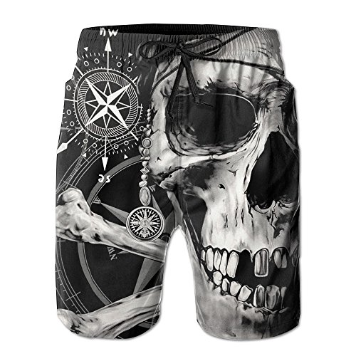 Skull Trunk (YUAN TING Men's Boy's Casual Novelty Beach Shorts Swim Trunk Retro Swimming Trunks Pirate And Skull Compass X-Large)