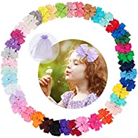 Admitrack 40 Colors Boutique Baby Girls Pinwheel Hair Bows Grosgrain Ribbon Alligator Clips For Girls Babies Kids Toddlers Teens, Drawstring Mesh Pouches Included (Mix)