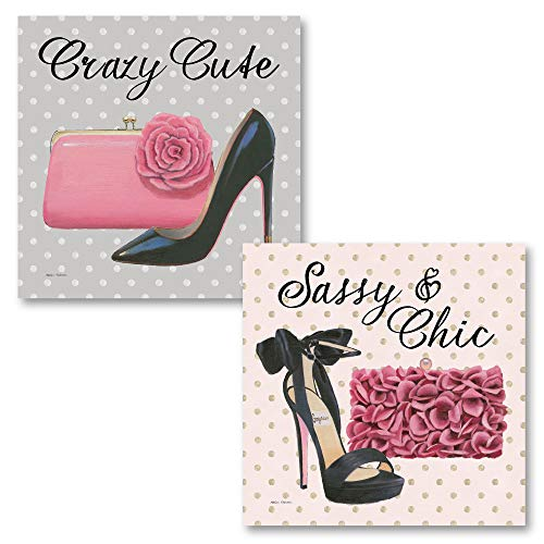 The Studio Resource, Inc. Glam Girl Power Boss Babe Crazy Cute' and 'Sassy and Chic' Clutch High-Heel Beauty Set; Two 12x12in Unframed Paper Posters