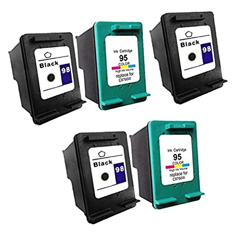 Remanufactured Ink Cartridge Replacement for HP 98 HP 95 C9364W C8766WN (3 Black 2 Color) 5 Pack (95 98 Hp Ink Cartridge)