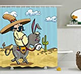 Ambesonne Cartoon Shower Curtain, Mexican Man Wearing Sombrero Hat Riding a Donkey in The Desert with Cactus Plants, Fabric Bathroom Decor Set with Hooks, 75 Inches Long, Multicolor