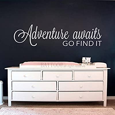 BATTOO Adventure Awaits Wall Decal Stickers Adventure Quotes Travel Theme Wall Decor Wanderlust Wall Decal Mountain Wall Decal Bedroom Decor