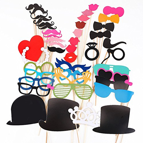 [40 pcs ++ ++ DIY Mask Photo Booth Props Mustache On A Stick Wedding Christmas Party Fun Favor] (Simple Cheer Dance Costumes)