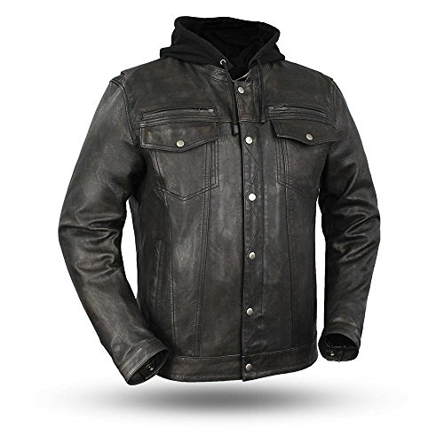Mens Riding Updated Jean Pocket Style Butter Touch Leather Jacket Removable Hoodie Blk Olive Color ()