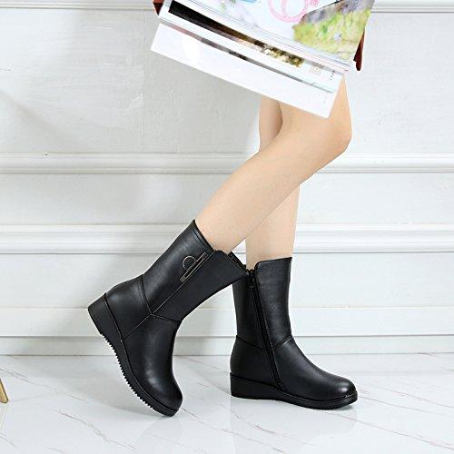 Chaussures KHSKX black 4 Bottes Pente Bottes Une Chaussures Martin D'Hiver Femme Haut La Bottes Avec De Femmes q1Zarqw