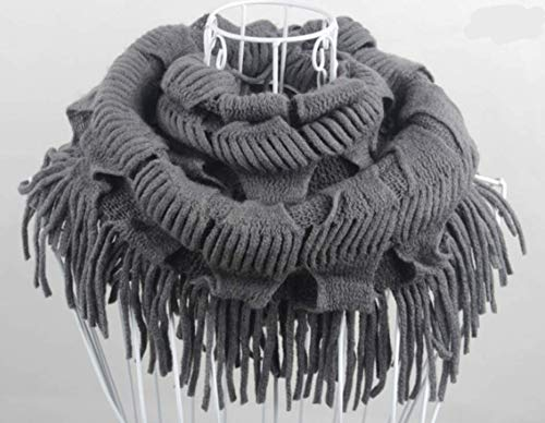 Women's Winter Warm Scarf Knitted Edge Layered Tassels Scarf (Color : Deep Grey, Size : 200CM)