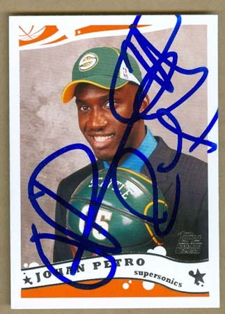Autograph Warehouse 19211 Johan Petro Autographed Basketball Card Seattle Sonics 2005 Topps No  245