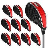 Andux Mesh Golf Iron Head Covers with window 10pcs/set 01-YBMT-001-03 Black/red