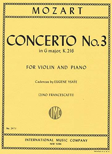 Mozart, Concerto No. 3 In G Major- K. 216, For Violin And Piano.