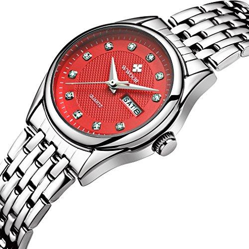 WWOOR Women Watches Brand Luxury 5Bar Waterproof Date Clock Ladies Quartz Sports Wrist Watch WR-8824 (red)