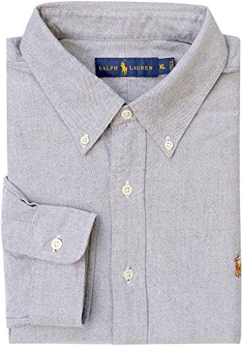 Polo Ralph Lauren Men's Long Sleeved Basic Oxford Shirt, Slate, X-Large ()