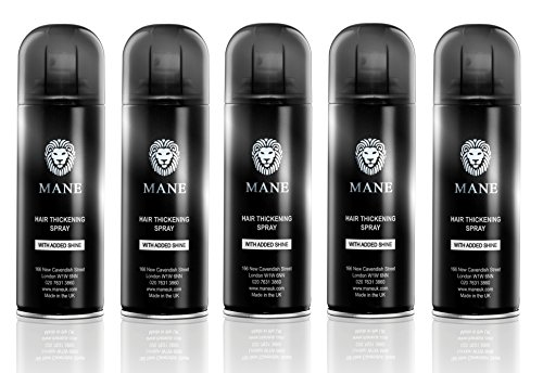 Mane America Hair Thickening Spray with Added Shine (5 Pack) (Jet Black) ()