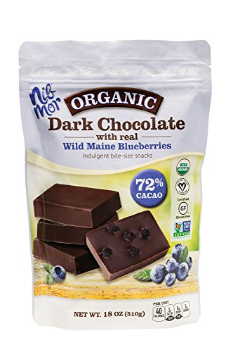 (NibMor Organic Dark Chocolate with Wild Maine Blueberries - 72% Cacao - Perfect Easter Basket Gift Chocolate or Indulgent Treat - 18 Oz (1)