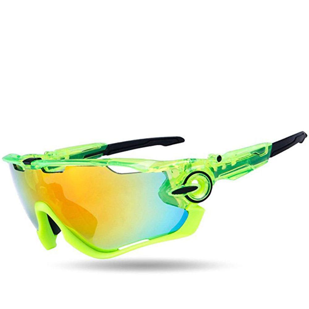 YFFS Outdoor Sports Fashion Sunglasses.Great for Cycling Driving Hiking Skiing Or Fishing.Changeable Lenses and Unbreakable High Strength (Color : Green)