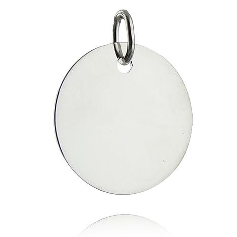 Amazon.com: Colgante redondo en blanco – plata de ley 925 ...