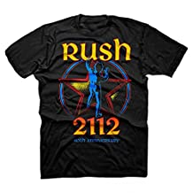 Rush 2112 40th Anniversary Starman Logo Adult T-shirt - Black (Small)