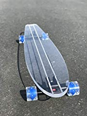 """Ghost Long Board is built from strong plexi-glass * Sunset Light Up Blue Wheels * Black Trucks * 220 lbs weight limit * 48"""" Longboard * Abec 7 bearings"""